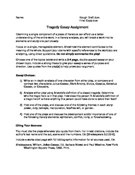 Shakespeare Tragedy Play Essay