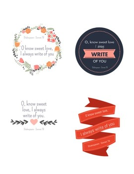 Shakespeare Valentines - For gifting with pencils