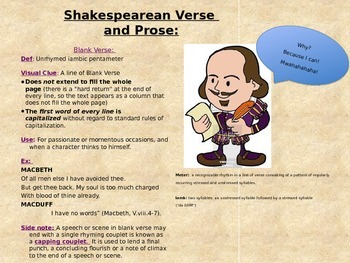 Shakespeare - Verse, Prose, Sonnets and his Writing