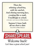 Welcome back (Shakespeare) posters. Two 18 x 24 printable posters.