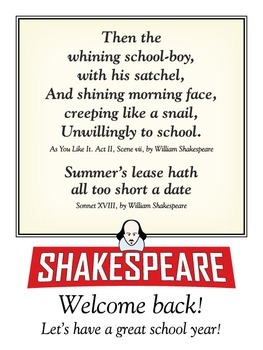 Welcome back (Shakespeare) posters. Two 18 x 24 printable