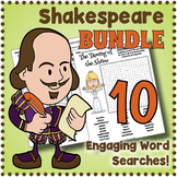 Shakespeare Word Search BUNDLE - 10 Worksheets