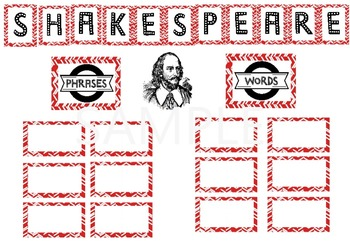 Shakespeare Word Wall Bulletin Board with Student Webquest