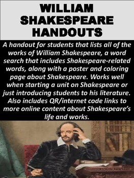 FREE William Shakespeare Handout & Word Search