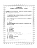 Shakespeare Writing Assignment - Writing with Shakespearean Language