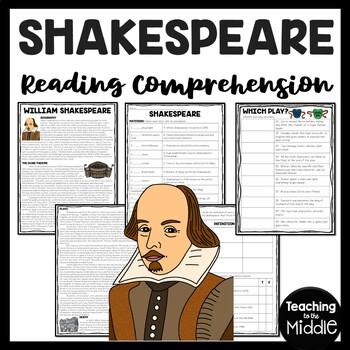 Shakespeare Reading Comprehension, Renaissance, Biography, Literature