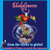Shakespeare fun classroom poster: from the Globe to global