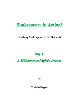 Shakespeare in Action! LD Day 1 'A Midsummer Night's Dream'