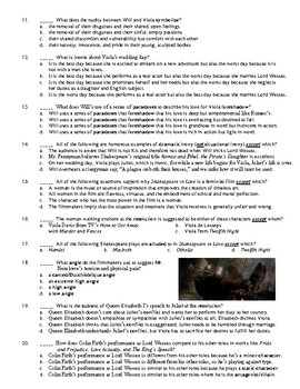 Shakespeare in Love Film (1998) 25-Question Matching and Multiple Choice Quiz