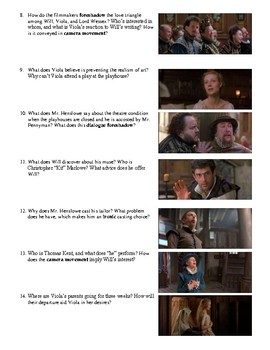 Shakespeare in Love Film (1998) Study Guide Movie Packet