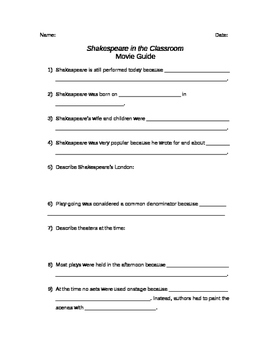 Shakespeare in the Classroom Movie Guide