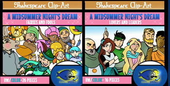 """Shakespeare's """"A Midsummer Night's Dream"""" Complete Set Combo-42 pc BW/Color"""