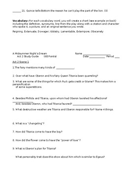 Shakespeare's A Midsummer Night's Dream Full 5 Act Study Guide