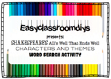 Shakespeare's ALL's Well That Ends Well Word Search Activity