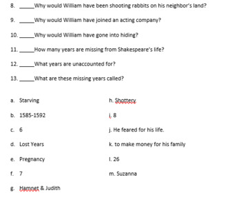 Shakespeare's Biography book:  Word Bank Quizzes