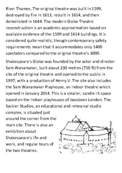 Shakespeare's Globe Theatre Handout