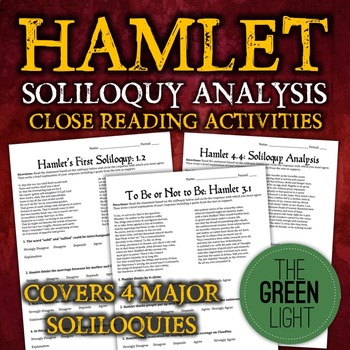 Shakespeare's Hamlet FOUR Soliloquy Close Reading Worksheets, Activities