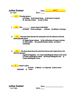 Shakespeare's JULIUS CAESAR  5 Reading Checks & Quizzes with KEYS