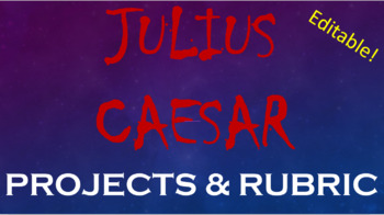Shakespeare's Julius Caesar Project Choices - Printable Handout (EDITABLE)