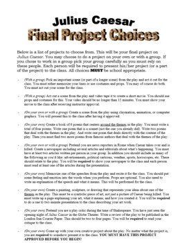 Shakespeare's Julius Caesar Project Choices - Printable Handout (EDITABLE)