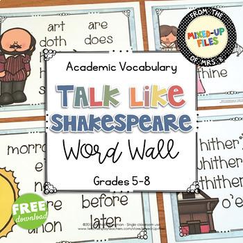 Shakespeare's Language Word Wall Free