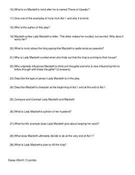 Shakespeare's Macbeth Act 1 Test