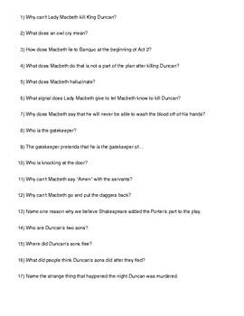 Shakespeare's Macbeth Act 2 Quiz/Test