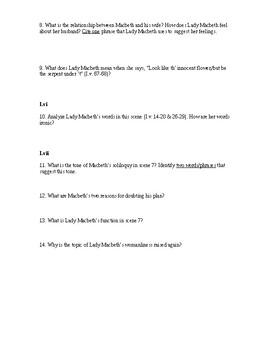 Shakespeare's Macbeth Common Core Aligned Study Guide Questions