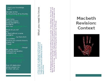 Shakespeare's Macbeth: Context Knowledge (Leaflet Design)