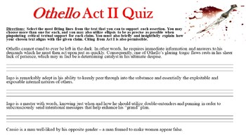 Othello by William Shakespeare - Act II Quiz (Short Answer Response)