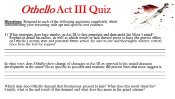 Othello by William Shakespeare - Act III Quiz (Short Answer Response)