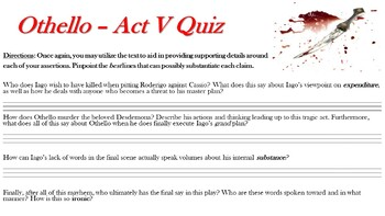 Othello by William Shakespeare - Act V Quiz (Short Answer Response)