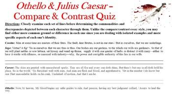 Othello by William Shakespeare - Compare & Contrast Quiz