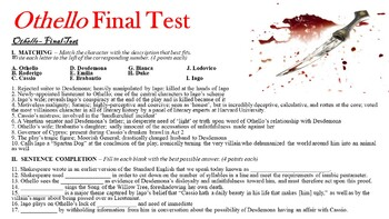 Othello by William Shakespeare - Final Test