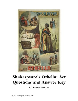 Shakespeare's Othello: Study Guide Questions and Answer Key