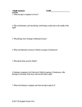 shakespeare s othello study guide questions and answer key tpt rh teacherspayteachers com Othello Act 1 Scene 3 Board Decorating Ideas