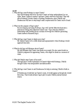 shakespeare s othello study guide questions and answer key tpt rh teacherspayteachers com Study Guide Science Study Guide Science