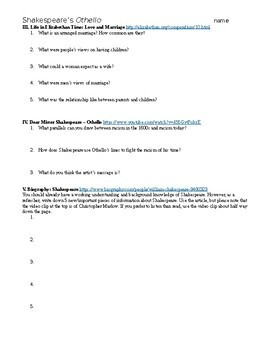 Shakespeare's Othello Webquest - with Key