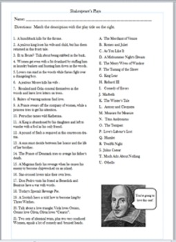 Shakespeare's Plays - Quiz