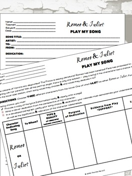 Shakespeare's Romeo & Juliet - Play My Song Creative Project
