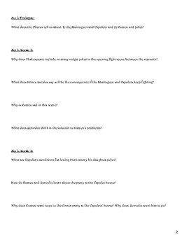 Shakespeare's Romeo and Juliet Act 1 Reading Questions