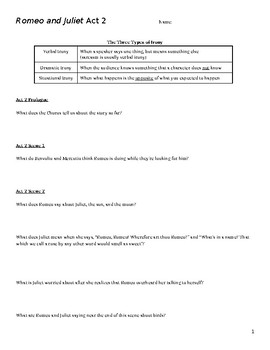 Shakespeare's Romeo and Juliet Act 2 Reading Questions