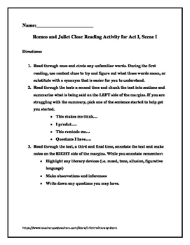 Shakespeare's Romeo and Juliet Close Reading & Activities Packet Aligned to CCSS