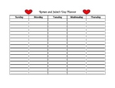 Shakespeare's Romeo and Juliet Day Planner Worksheet