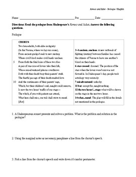 Shakespeare's Romeo and Juliet Prologue and Sonnet Handout