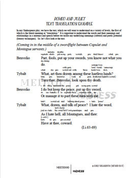 Shakespeare's Romeo and Juliet Text Translation and Subtext Game Play Prep