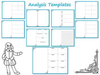 Shakespeare's Soliloquies Analysis Templates and Graphic Organizers
