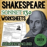 Shakespeare's Sonnet 130 Worksheet, Packet, Lesson Plan w/ Answer Key