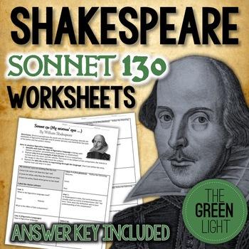 Shakespeare's Sonnet 130 Worksheet, Packet, Lesson Plan w/ Answer Key