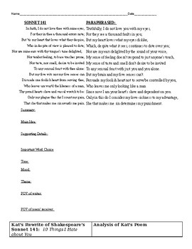 Shakespeares Sonnet 141 And Kats Sonnet From 10 Things I Hate